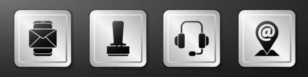Set Mobile and envelope, Stamp, Headphones and Location and mail and e-mail icon. Silver square button. Vector.