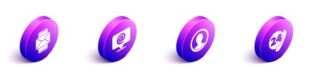 Set Isometric Mobile and envelope, Mail and e-mail, Create account screen and Telephone 24 hours support icon. Vector.
