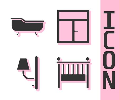 Set Baby crib cradle bed, Bathtub, Wall sconce and Window in the room icon. Vector. Ilustracja
