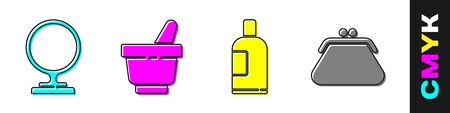 Set Round makeup mirror, Mortar and pestle, Bottle of shampoo and Clutch bag icon. Vector.