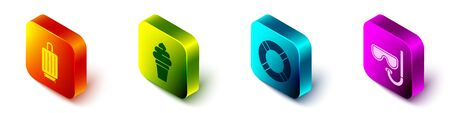 Set Isometric Suitcase, Ice cream in waffle cone, Lifebuoy and Diving mask and snorkel icon. Vector