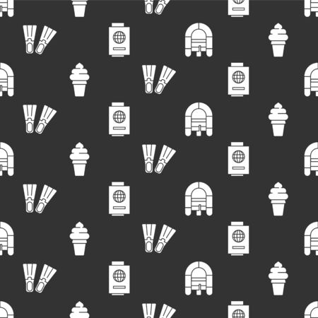 Set Rafting boat, Ice cream in waffle cone, Rubber flippers and Passport with ticket on seamless pattern. Vector 向量圖像