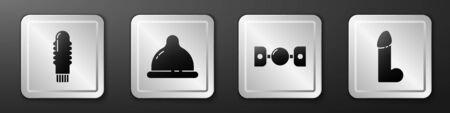 Set Dildo vibrator, Condom, Silicone ball gag with belt and Dildo vibrator icon. Silver square button. Vector