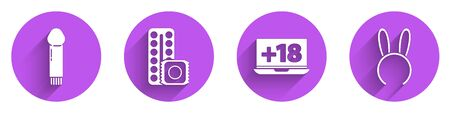 Set Dildo vibrator, Birth control pills and condom, Laptop with 18 plus content and Mask with long bunny ears icon with long shadow. Vector Illustration