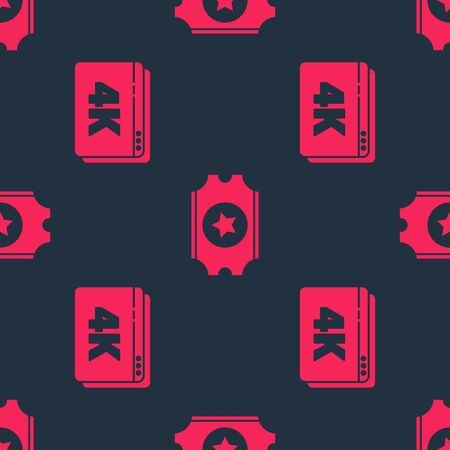 Set Online play video with 4k and Cinema ticket on seamless pattern. Vector