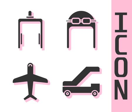Set Passenger ladder for plane boarding, Metal detector in airport, Plane and Aviator hat with goggles icon. Vector