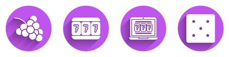 Set Casino slot machine with grape, Slot machine with lucky sevens, Laptop and slot machine and Game dice icon with long shadow. Vector