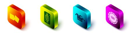 Set Isometric Game dice, King playing card with diamonds, Joker playing card and Casino chips icon. Vector