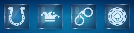 Set Horseshoe, Joker playing card, Handcuffs and Casino chips. Square glass panels. Vector