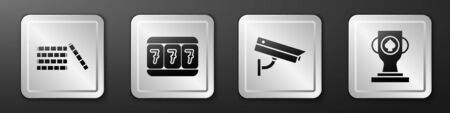 Set Casino chips, Slot machine with lucky sevens, Security camera and Casino poker trophy cup icon. Silver square button. Vector