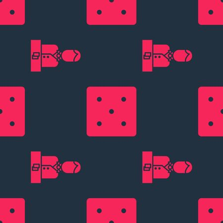 Set Casino dealer and Game dice on seamless pattern. Vector
