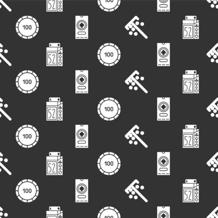 Set Stick for chips, Deck of playing cards, Casino chips and Casino poker tournament invitation on seamless pattern. Vector