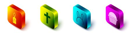 Set Isometric Burning candle, Christian cross, Mask with long bunny ears and Easter cake icon. Vector