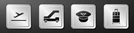 Set Plane takeoff, Passenger ladder for plane boarding, Pilot hat and Suitcase icon. Silver square button. Vector