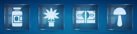 Set Medicine bottle and pills, Marijuana or cannabis plant in pot, Stacks paper money cash and Psilocybin mushroom. Square glass panels. Vector 일러스트