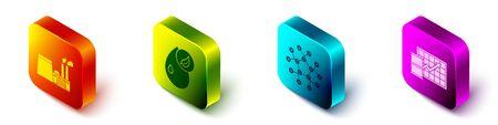 Set Isometric Oil industrial factory building, Bio fuel, Molecule oil and Oil price increase icon. Vector