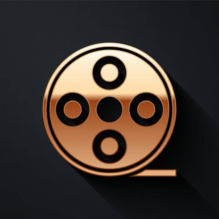 Gold Film reel icon isolated on black background. Long shadow style. Vector.
