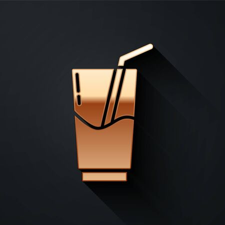 Gold Cocktail and alcohol drink icon isolated on black background. Long shadow style. Vector.