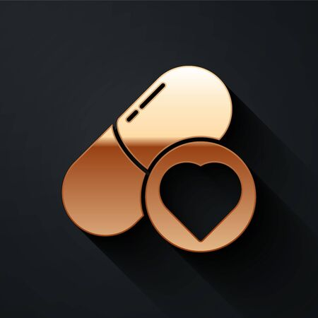 Gold Pills for potency, aphrodisiac icon isolated on black background. Sex pills for men and women. Long shadow style. Vector Illustration Vectores