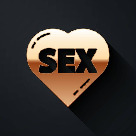Gold Heart with text Sex icon isolated on black background. Adults content only icon. Long shadow style. Vector.