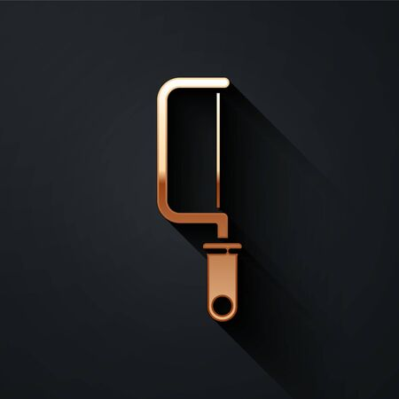 Gold Hacksaw icon isolated on black background. Metal saw for wood and metal. Long shadow style. Vector. Stock Illustratie