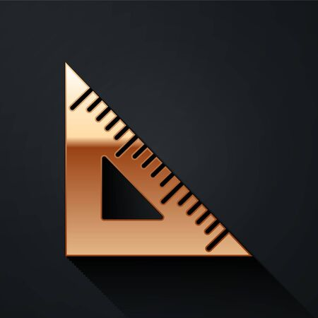 Gold Triangular ruler icon isolated on black background. Straightedge symbol. Geometric symbol. Long shadow style. Vector.