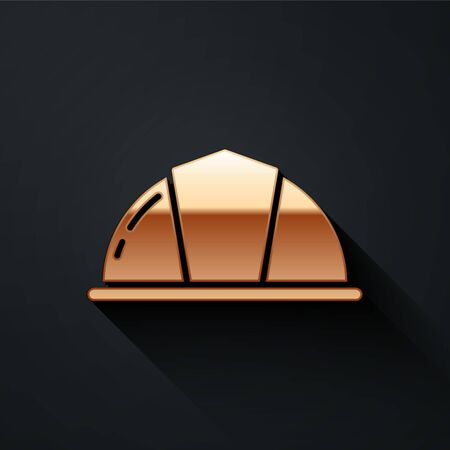 Gold Worker safety helmet icon isolated on black background. Long shadow style. Vector. Иллюстрация