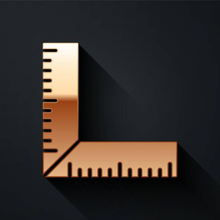 Gold Corner ruler icon isolated on black background. Setsquare, angle ruler, carpentry, measuring utensil, scale. Long shadow style. Vector.