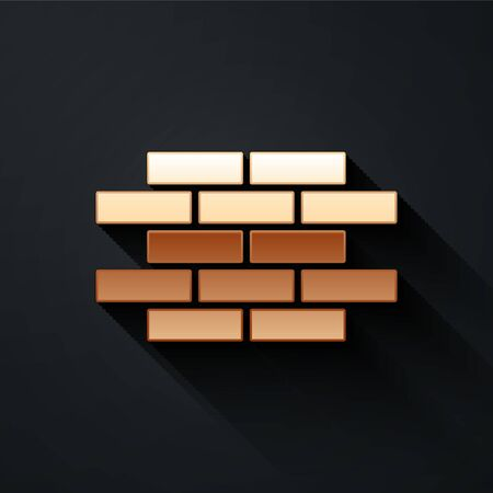 Gold Bricks icon isolated on black background. Long shadow style. Vector.  イラスト・ベクター素材