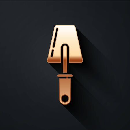 Gold Trowel icon isolated on black background. Long shadow style. Vector.