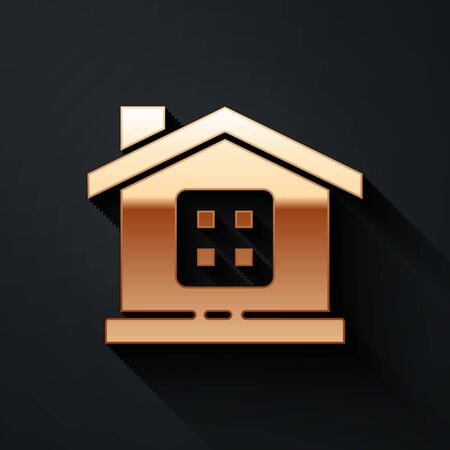 Gold House icon isolated on black background. Home symbol. Long shadow style. Vector Illustration