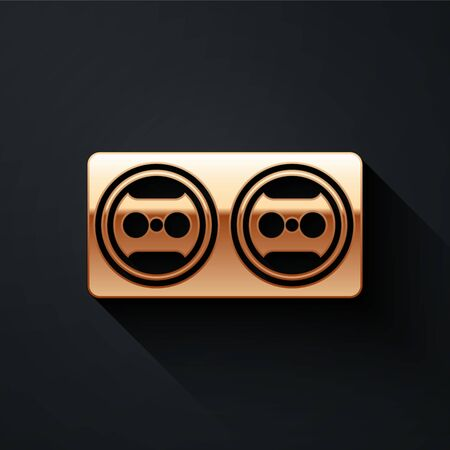 Gold Electrical outlet icon isolated on black background. Power socket. Rosette symbol. Long shadow style. Vector.