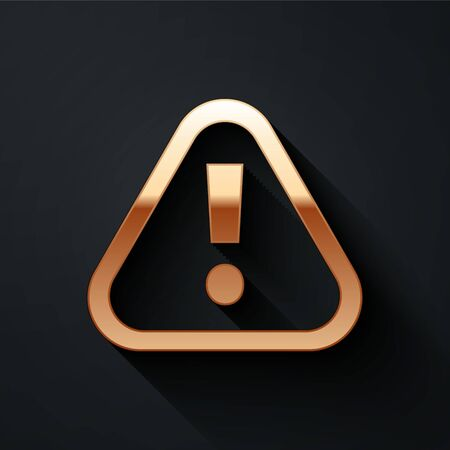 Gold Exclamation mark in triangle icon isolated on black background. Hazard warning sign, careful, attention, danger warning important. Long shadow style. Vector. Иллюстрация