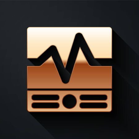 Gold Electrical measuring instruments icon isolated on black background. Analog devices. Electrical appliances. Long shadow style. Vector. Ilustrace
