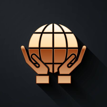 Gold Human hands holding Earth globe icon isolated on black background. Save earth concept. Long shadow style. Vector.  イラスト・ベクター素材
