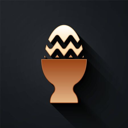 Gold Easter egg on a stand icon isolated on black background. Happy Easter. Long shadow style. Vector.