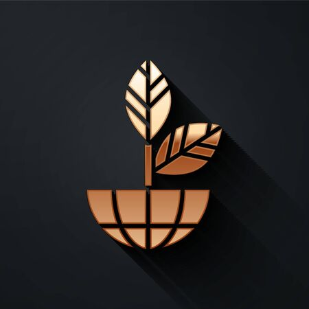 Gold Earth globe and plant icon isolated on black background. World or Earth sign. Geometric shapes. Environmental concept. Long shadow style. Vector.