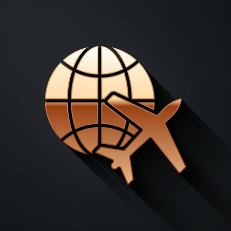 Gold Globe with flying plane icon isolated on black background. Airplane fly around the planet earth. Aircraft world icon. Long shadow style. Vector.