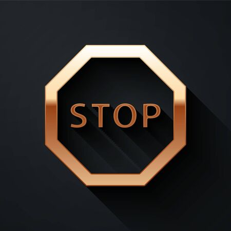 Gold Stop sign icon isolated on black background. Traffic regulatory warning stop symbol. Long shadow style. Vector Illustration Vettoriali