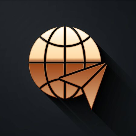Gold Globe with flying plane icon isolated on black background. Airplane fly around the planet earth. Aircraft world icon. Long shadow style. Vector. Zdjęcie Seryjne - 147756769