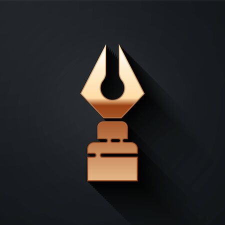 Gold Fountain pen nib icon isolated on black background. Pen tool sign. Long shadow style. Vector Illustration 일러스트