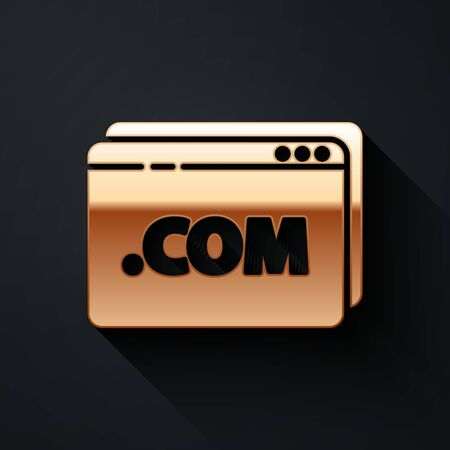 Gold Website template icon isolated on black background. Internet communication protocol. Long shadow style. Vector Illustration  イラスト・ベクター素材