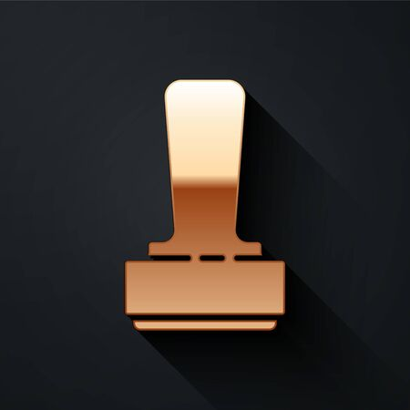 Gold Stamp icon isolated on black background. Long shadow style. Vector Illustration