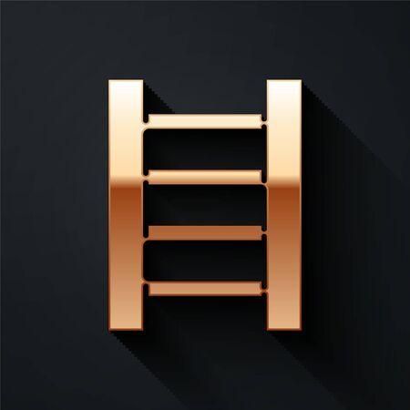 Gold Wooden staircase icon isolated on black background. Long shadow style. Vector.