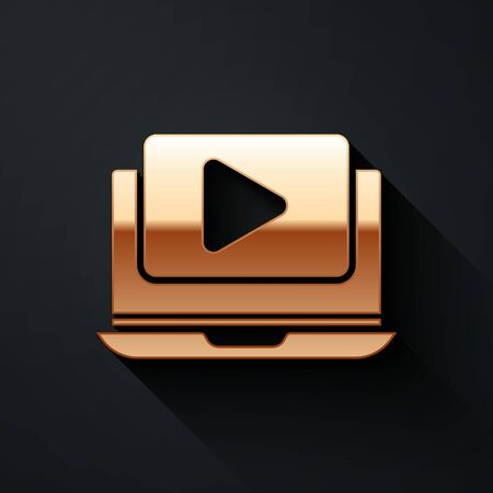 Gold Online play video icon isolated on black background. Laptop and film strip with play sign. Long shadow style. Vector.