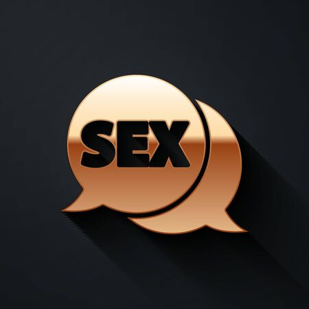Gold Speech bubble with text Sex icon isolated on black background. Adults content only icon. Long shadow style. Vector Illustration Ilustracja