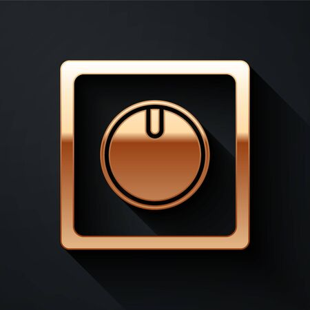 Gold Electric light switch icon isolated on black background. On and Off icon. Dimmer light switch sign. Concept of energy saving. Long shadow style. Vector. Ilustracja