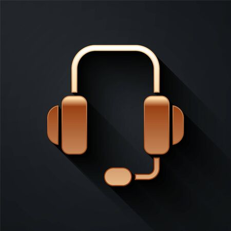 Gold Headphones icon isolated on black background. Support customer service, hotline, call center, faq, maintenance. Long shadow style. Vector.