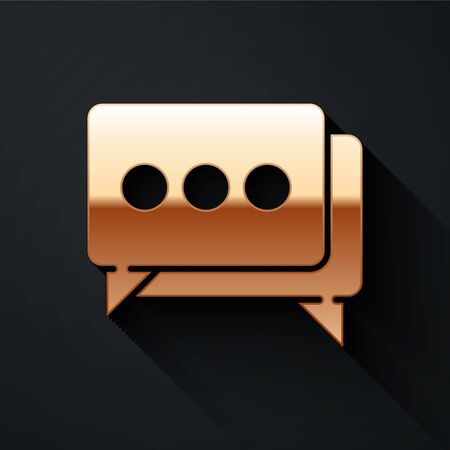 Gold Speech bubble chat icon isolated on black background. Message icon. Communication or comment chat symbol. Long shadow style. Vector. Ilustracja