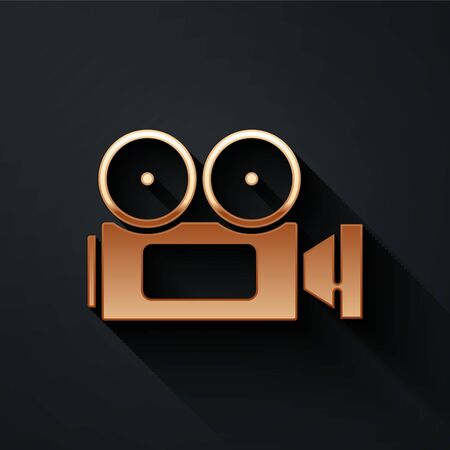 Gold Cinema camera icon isolated on black background. Video camera. Movie sign. Film projector. Long shadow style. Vector.